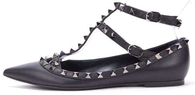 VALENTINO Black Rockstud Embellished Leather Pointed Toe T-Strap Flats