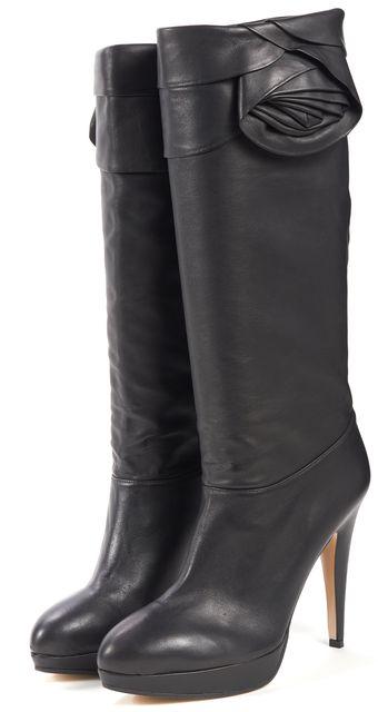 VALENTINO Black Leather Flower Embellished Knee-High Boots