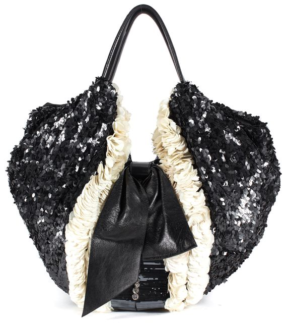 VALENTINO Black Ivory Sequin Jewel Embellished Leather Trim Hobo Bag