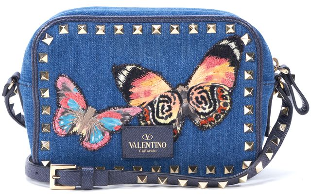 VALENTINO Blue Embroidered Butterfly Denim Rockstud Crossbody Bag