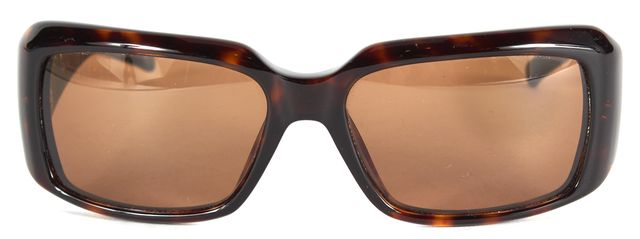 VALENTINO Brown Tortoiseshell Embellished Logo Rectangle Sunglasses w/ Case