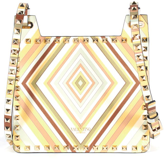 VALENTINO Beige Red Blue Rockstud Embellished Striped Leather Crossbody