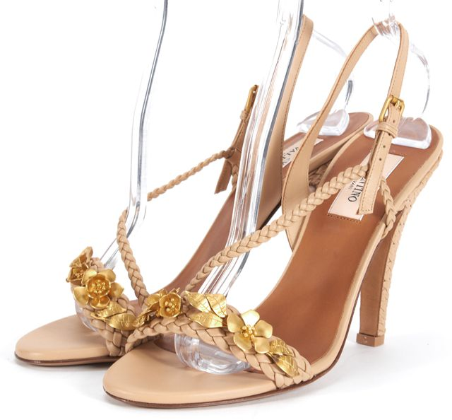 VALENTINO Beige Gold Flower Appliqué Braided Leather Heels