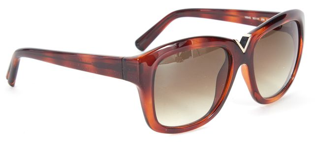 VALENTINO Brown Tortoise Acetate V Cut Square Sunglasses w/ Case