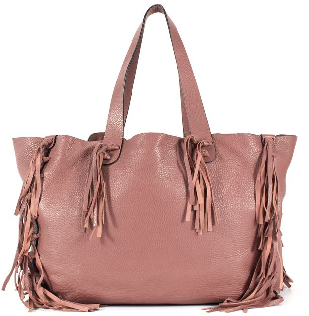 VALENTINO Mauve Pink Leather C-Rockee Fringe Trim Tote Shoulder Bag
