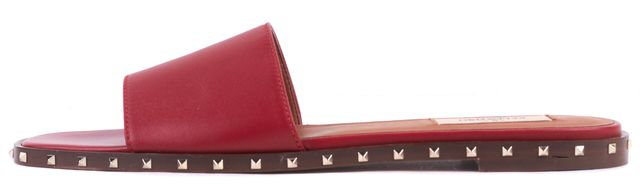 VALENTINO Red Rockstud Leather Slide Sandals