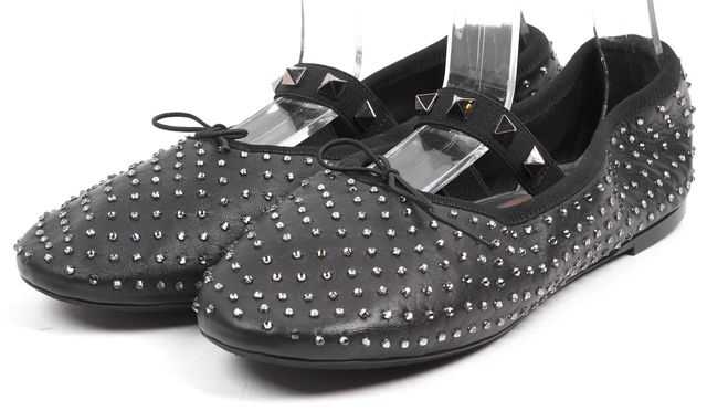 VALENTINO Black Leather Crystal Embellished Leather Flats