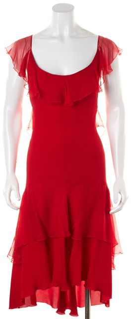 VALENTINO Red Silk Ruffle Trim Sleeveless Cross Back Tiered Sheath Dress