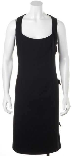 VALENTINO Black Grosgrain Bow Trim Side Wool Sleeveless Sheath Dress