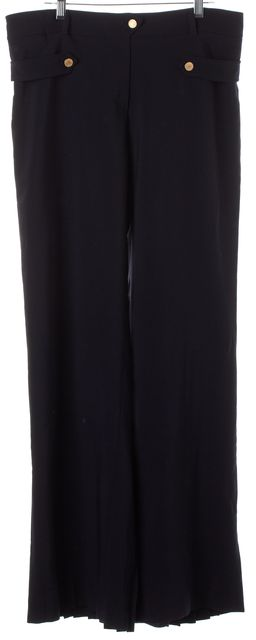 VALENTINO Black Wool Pleated Detail Casual Pants