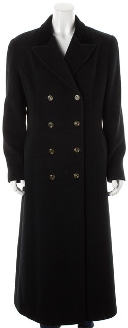 VALENTINO Black Wool Angora Double Breasted Full-Length Basic Coat
