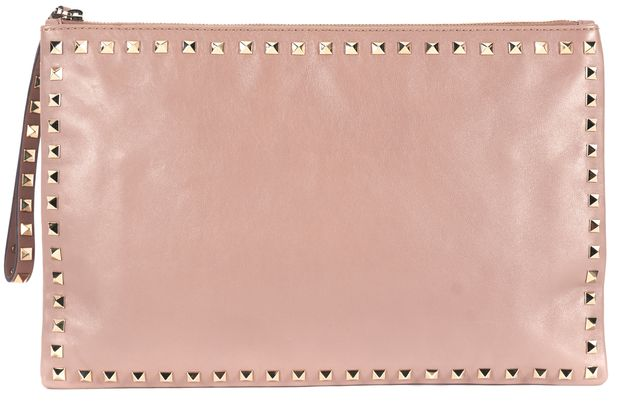 VALENTINO Beige Leather Gold-Tone Rockstud Embellished Oversized Clutch