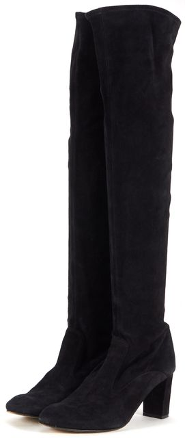 VALENTINO Black Suede Block Heeled Over Knee Boots