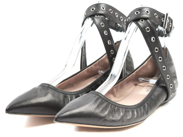 VALENTINO Black Leather Pointed Toe Love Latch Ankle Wrap Flats