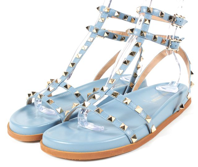 VALENTINO Gray Sky Blue Leather Rockstud Flatform Sandals