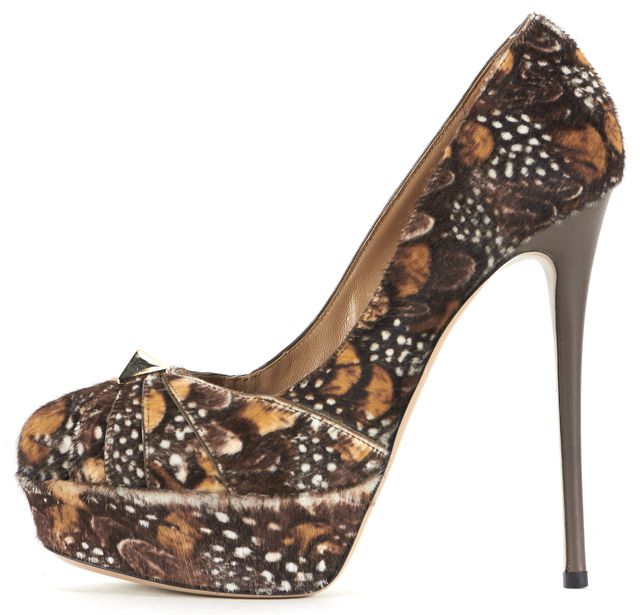 VALENTINO Brown Calf-Hair Rockstud Feather Platform Heels