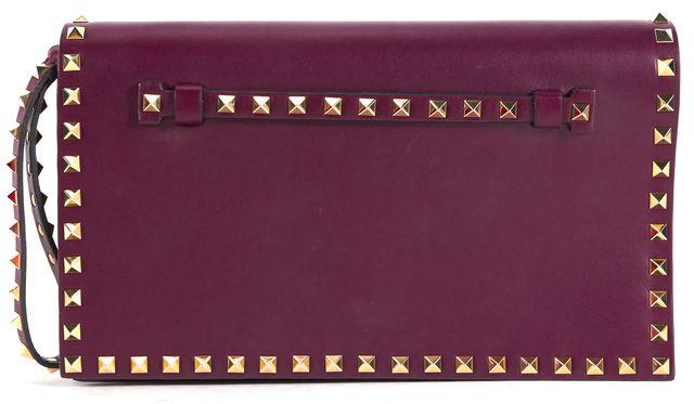 VALENTINO Purple Nappa Leather Rockstud Wristlet Clutch