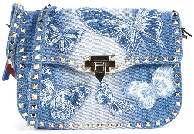 VALENTINO Blue Denim Embroidered Butterfly Rockstud Crossbody Shoulder Bag