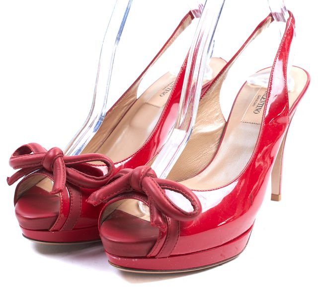 VALENTINO Red Patent Leather Peep Toe Slingback Heels