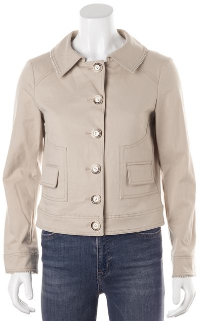 VALENTINO Beige Stretch Cotton Button Down Basic Jacket