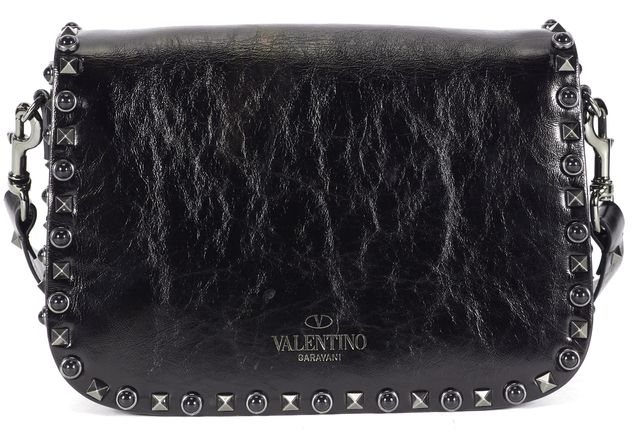 VALENTINO Black Navy Leather Guitar Rockstud Rolling Noir Crossbody