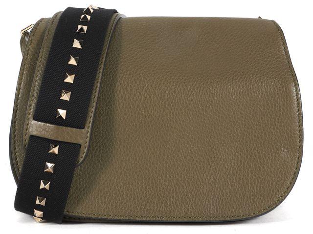 VALENTINO Army Green Leather Rockstud Saddle Crossbody Bag