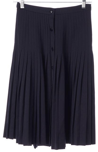 VALENTINO Navy Blue Center Button Knee-Length Pleated Skirt