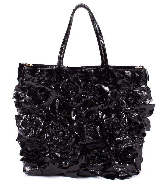 VALENTINO Black Patent Leather Primevere Floral Applique Large Tote Bag