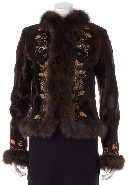 VALENTINO Brown Fox Lamb Fur Floral Embroidered Jacket