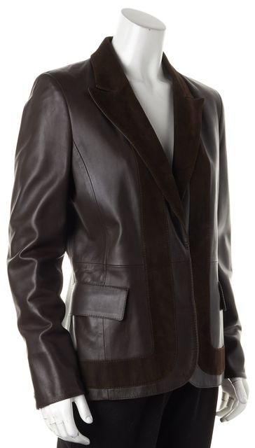 VALENTINO Brown Lambskin Leather Suede Trim Single Button Jacket