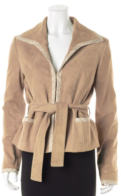 VALENTINO Beige Goatskin Suede Leather Tweed Trim Belted Jacket