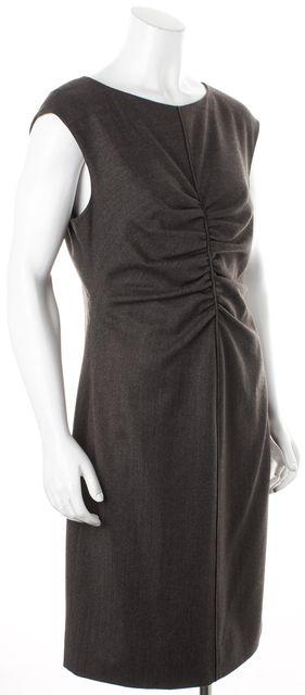 VALENTINO Gray Wool Cap Sleeve Knee-Length Sheath Dress