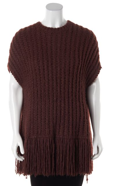 VALENTINO Burgundy Red Silk Fringe Trim Knit Poncho Top