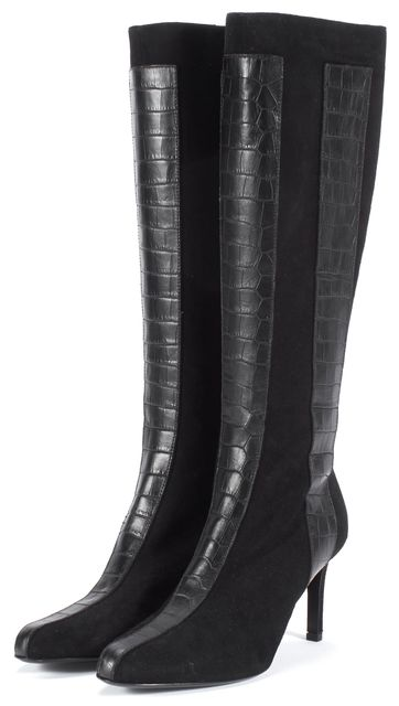 VALENTINO Black Suede Croc Embossed Knee-High Boots Size US 7.5 IT 37.5