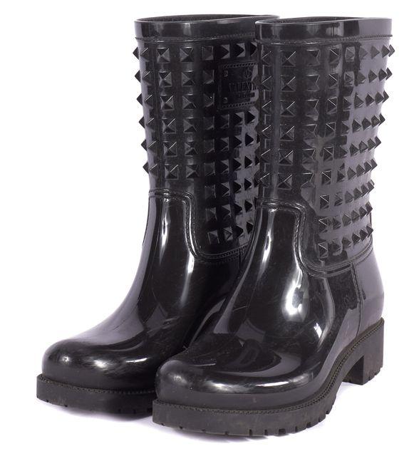 VALENTINO Black Rockstud Mid-Calf Rainboots
