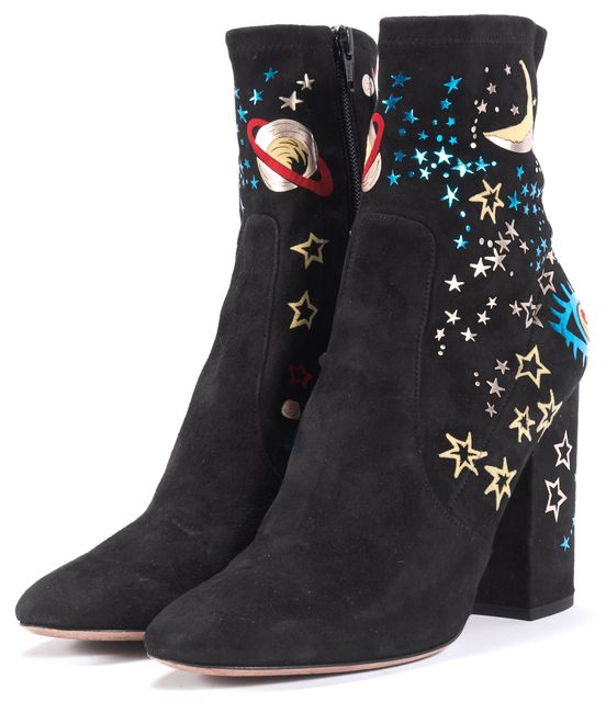 VALENTINO Black Embellished Suede Astro Couture Bootie Ankle Boots
