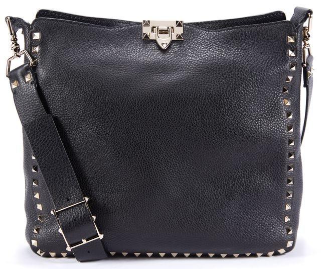 VALENTINO Black Leather Rockstud Embellished Utilitarian Medium Crossbody Bag