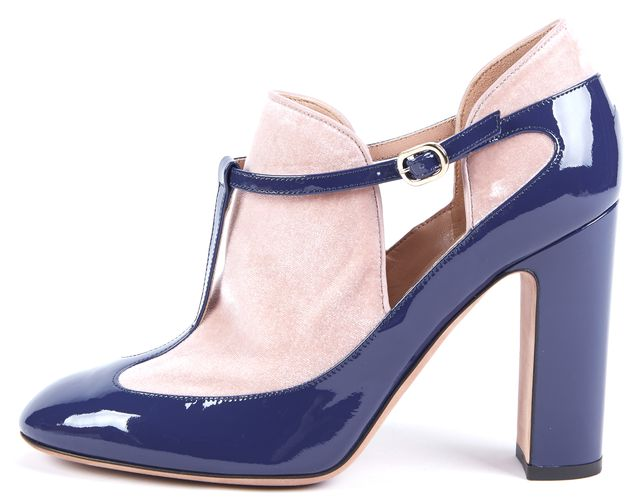 VALENTINO Blue Patent Leather Beige Velvet T-Bar Pump Heels