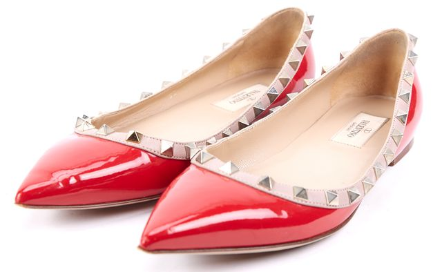 VALENTINO Red Rockstud Embellished Patent Leather Pointed Toe Flats