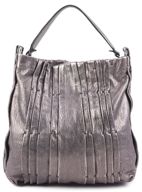 VALENTINO Gray Metallic Leather Tote Shoulder Handbag
