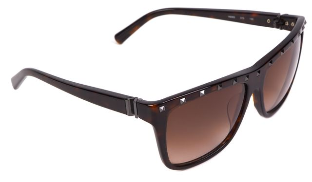 VALENTINO Brown Acetate Gradient Square Studded Sunglasses