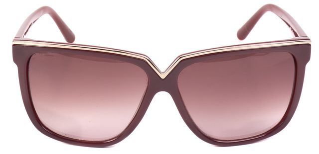 VALENTINO Burgundy Acetate Gradient Square Sunglasses