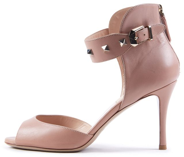 VALENTINO Blush Leather Rockstud Ankle Strap Sandal Heels Size US 7.5 IT 37.5