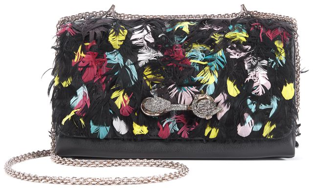 VALENTINO Feather Black Leather Limited Edition Animalia Va VA Voom Shoulder Bag