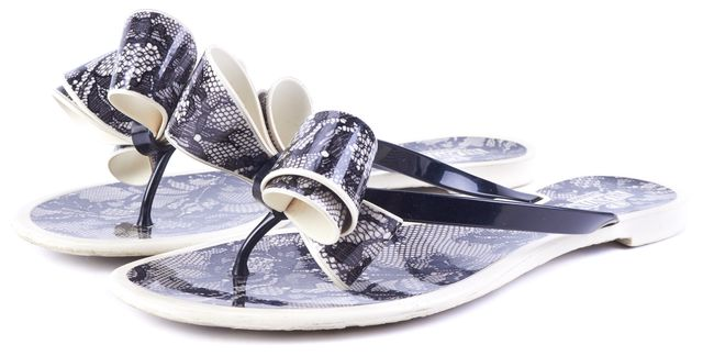 VALENTINO Ivory Black Lace Printed Bow Jelly Flat Sandals