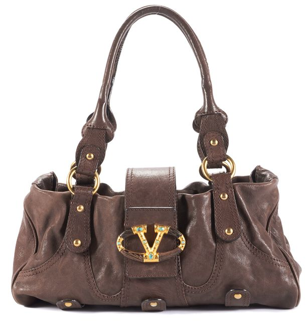 VALENTINO VALENTINOBrown Textured Leather Gold Blue Jewel V Logo Flap Closure Shoulder Bag