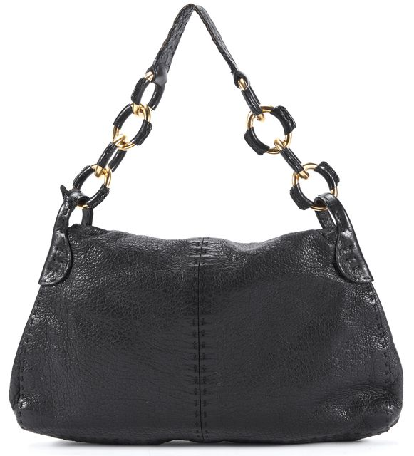 VALENTINO Black Gold Chain Link Pleated Leather Flap Closure Shoulder Bag