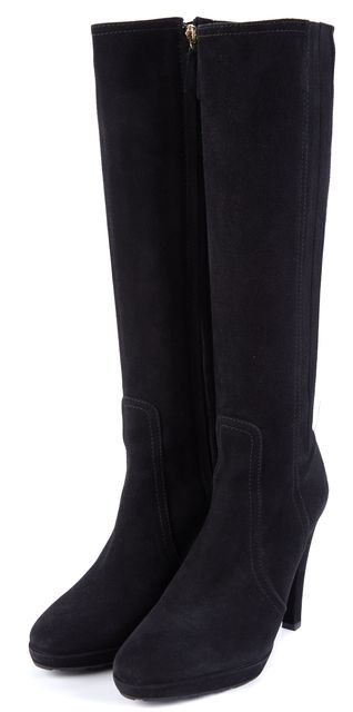 VALENTINO Black Suede Stitched Panel Mid-Calf Boots Size US 7 EUR 37.5