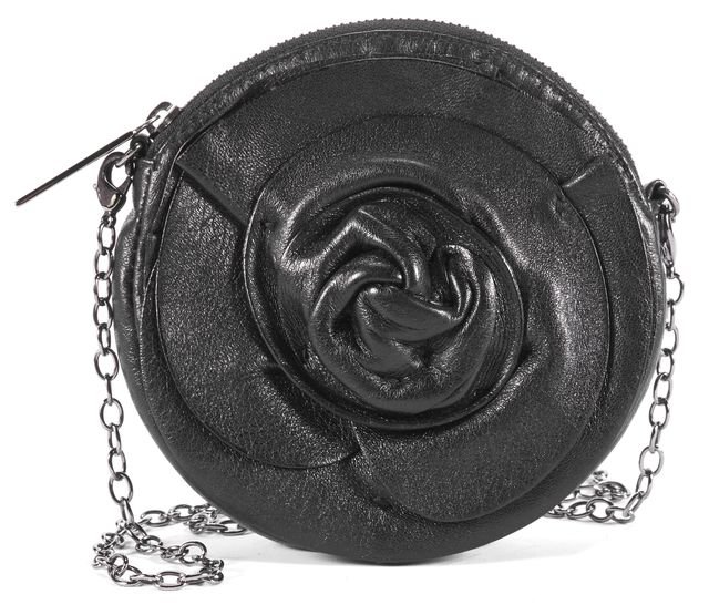 VALENTINO Black Leather Rose Change Purse Mini Crossbody Handbag