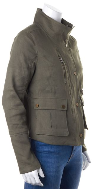 VERONICA BEARD Green Linen Patch Pockets Zip Up Military Style Jacket
